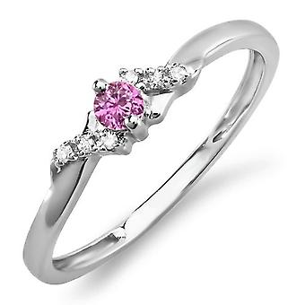 Dazzlingrock Collection 10K Round Pink Sapphire And White Diamond Ladies Bridal Promise Engagement Ring, White Gold