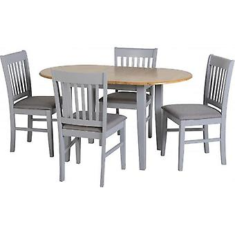 Oxford Extending Dining Set - Grey/natural Oak/grey Fabric