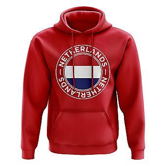 Nederland fotball Badge hettegenser (rød)