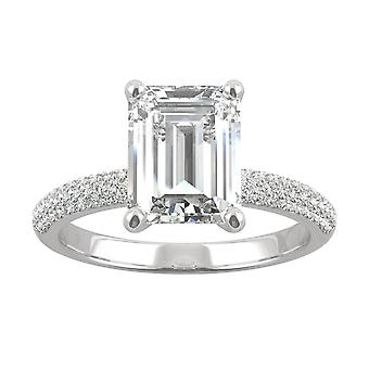 14K White Gold Moissanite by Charles & Colvard 9x7mm Emerald Engagement Ring, 2.87cttw DEW