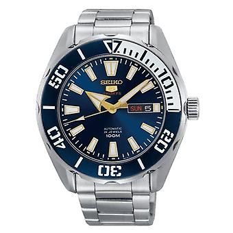 Seiko 5 Sports Silver Stainless Steel Blue Dial Automatic Men's Watch SRPC51K1