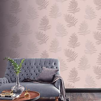 Metallic Fern Wallpaper Blush Arthouse 687000