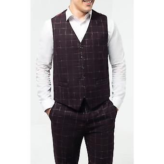 Dobell Mens Wine Tweed Waistcoat Regular Fit Windowpane Check