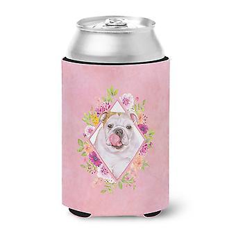 Carolines Treasures  CK4140CC English Bulldog Pink Flowers Can or Bottle Hugger