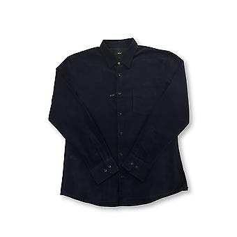 HUGO BOSS Reid slim fit short length corduroy cotton shirt in navy