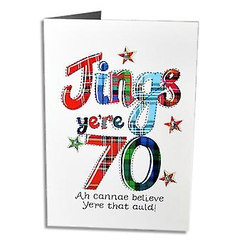 Embroidered Originals Jings Yere 70 Scottish Birthday Card
