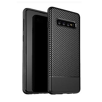 For Samsung Galaxy S10 Case Black Carbon Fiber Texture TPU Protective Back Shell