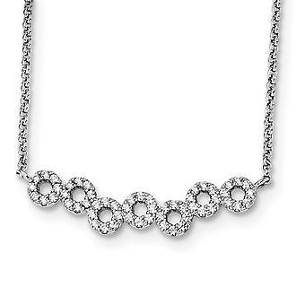 925 Sterling Silber Rhodium vergoldet CZ Zirkonia simuliert Diamant 17 In mit 2 In Ext. Kreis Bar Halskette 17,25 In