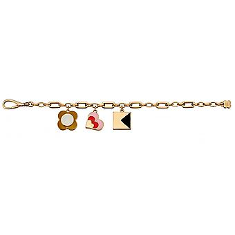 Orla Kiely Mixed Link Gold Chain 3 Charm Bracelet