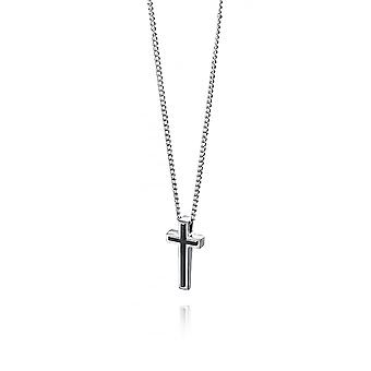 Fred Bennett Stainless Steel Necklace W/ Black Ip Cross Pendant