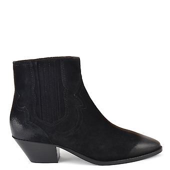 Ash FALCON Ankle Boots Brushed Black Suede