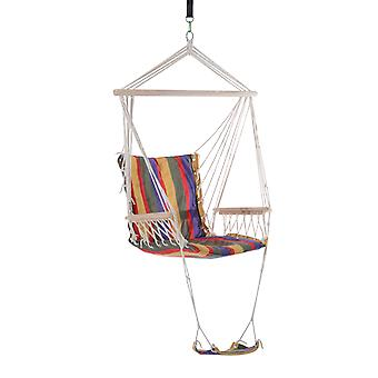 Outsunny Outdoor Hammock Hanging Rope Chair Garden Yard Patio Swing Seat Wooden w/ Footrest Armrest Cotton Cloth (Red)