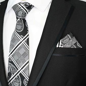 黒・白のペイズリー ・ タータン ネクタイ ・ ポケット広場