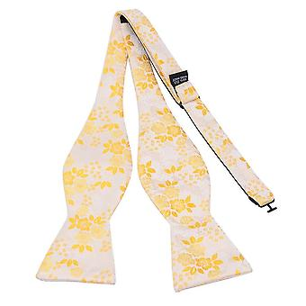 Spring yellow floral bow tie & pocket square set