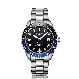 Rotary GB05108-63 Men-apos;s Henley Black/Blue GMT Wristwatch