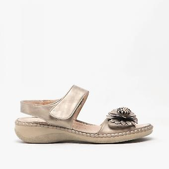Boulevard Roselin Ladies Floral Brooch Heeled Sandals Pewter