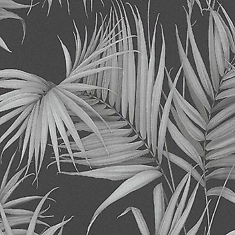 A.S. Creație ca Creație Palm Tree Frunze Frunze Jungle Wallpaper non țesute Negru Gri 36505-3
