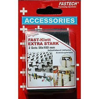 FASTECH® 730-330-2C Krok-och-slinga tejp stick-on (smältlim) Krok och slinga pad, Kraftig (L x W) 100 mm x 50 mm Svart 1 Par