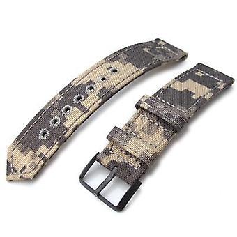 בד כתפיות לצפות רצועה 20mm, 21mm או 22mm miltat מלחמת המלחמה 2-piece בז ' הסוואה קורדור 1000 d לצפות עם חור עגול לוקסטיץ, pvd שחור