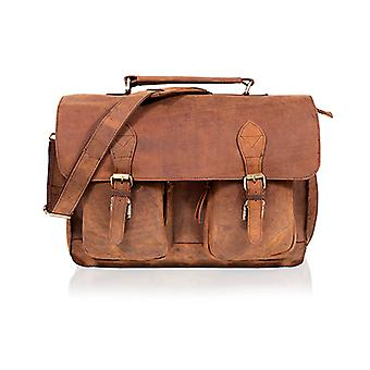 Woodland Leather Brown Waxy Satchel Briefcase Double Patch Pockets 15.0