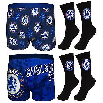 Chelsea FC offiziellen Fußball Geschenk Set Herren Kleid Socken Boxer Shorts