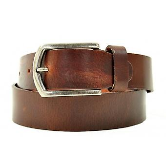 Petrol Leather Jeans Belt Brown ( 40871)