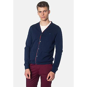 Merc CRAWFORD, Men's Cardigan Met Tartan Trim