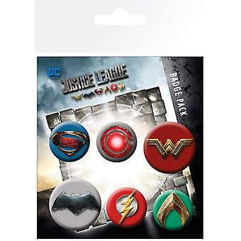 Justice League Movie Pin Button Badges Set