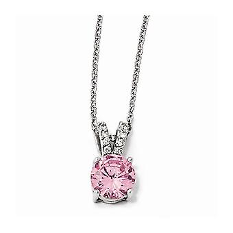 925 Sterling Silver Rhodium plated Fancy Lobster Closure Pink and White CZ Cubic Zirconia Simulated Diamond Necklace 18