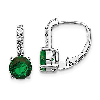 Cheryl M 925 Sterling Silver CZ Cubic Zirconia Simulated Diamond and Green Glass Leverback Earrings Measures 14.74x6.48m