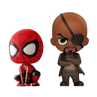 Spider-Man Lejos de casa y Nick Fury Cosbaby Set