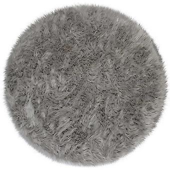Faux Fur Sheepskin Circle Round In Grey