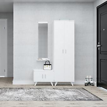 Mobiler Eingang Seylan White Color in Chip, Kunststoff, Metall 30x12x120 cm, 60x35x194 cm, 60x35x46 cm