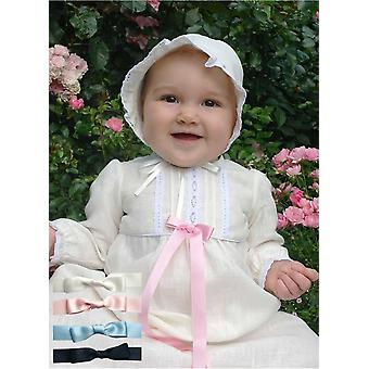 Christening Gown In Off White Linen With Long Sleeves And Bonnet , 5 Bows Tho Choose From -  Grace Of Sweden