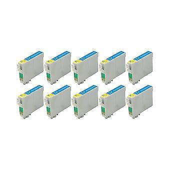 RudyTwos 10 x reemplazo de Fox de Epson de tinta cian de unidad Compatible con S22 SX125 SX130, SX230, SX235W, SX420W, SX425W, SX430W, SX435W, SX438W, SX440W, SX445W, SX445WE, oficina BX305F, BX305FW, BX305FW