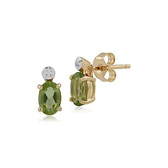 Classic Oval Peridot & Diamond Stud Earrings in 9ct Yellow Gold 135E1264049