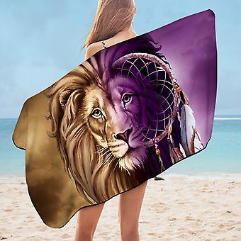 Dream Catcher Lion Microfiber Beach Towel