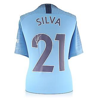 David Silva Signed Manchester City 2018-19 Home Shirt