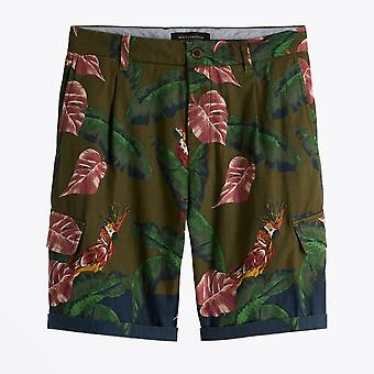 Scotch & Soda  - Parrot Print Cargo Shorts - Green/Multi