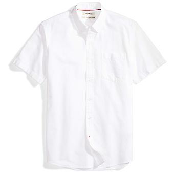 グッドスレッドメン&アポスのスタンダードフィット半袖ソリッドオックスフォードシャツw/ポケット、ホイット.