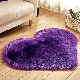 Heart Shaped Shaggy Carpet Wool Faux Fluffy Mats - Artificial Sheepskin Hairy