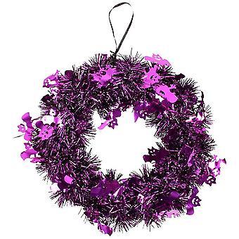 24 cm glitter halloween krans halloween dekorasjon lilla -
