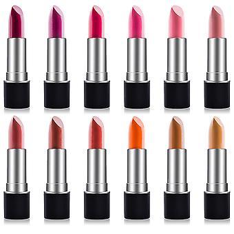 SHANY Slick & Shine Lippenstift Set - 12 Matte Farbe lang anhaltend & feuchtigkeitsbefeuchtende Lippenfarben mit Vitamin E und Aloe Vera.