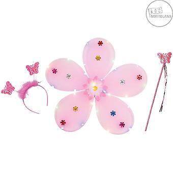 Flower Set LED 3pcs.  (incl. batteries) Girls children's set flowers pink