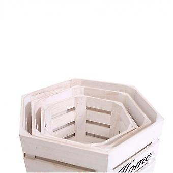 Rebecca Furniture Set 3 Peças Cassette White Wood White White Baskets 25x40x35