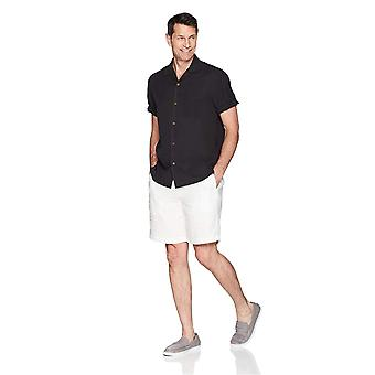 28 Palms Men's Relaxed-Fit 100% Silk Camp Shirt, Black, X-Large