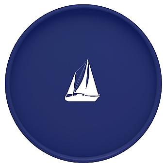 Kasualware 14 Inches Round Serving Tray Blue Sailboat