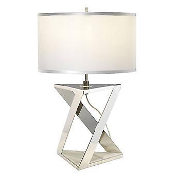 Elstead Aegeus - 1 lámpara de mesa ligera blanca, níquel pulido, E27