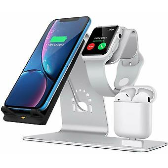 Zikko Zw8046 3in1 Wireless Intelligent Fast Charger With Aluminum Stand For Iphone Samsung Galaxy S7 Airpods