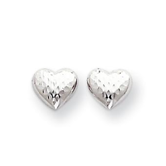 14k White Gold Polished Open back Post Earrings Sparkle Cut Love Heart Earrings Measures 7x7mm Jewelry Gifts for Women